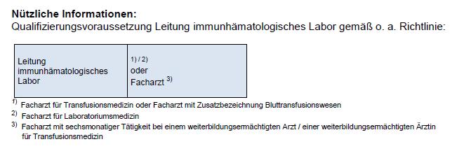 Nützliche Informationen: Qualifizierungsvoraussetzung Leitung immunhämatologisches Labor gemäß o. a. Richtlinie: